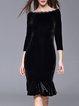 Black Velvet Mermaid 3/4 Sleeve Boat Neck Midi Dress