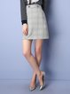 Gray Buttoned A-line Basic Wool Blend Mini Skirt
