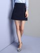 Navy Blue Pockets Plain Girly Mini Skirt