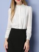White Ruffled Girly Long Sleeve Stand Collar Blouse