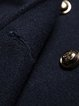 Navy Blue Buttoned Wool Blend Long Sleeve Coat