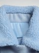Blue Wool Blend Pockets Zipper Cropped Jacket