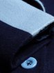 Navy Blue Buttoned Lapel Elegant Coat
