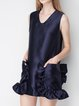 Navy Blue Sleeveless Ruffled Plain V Neck Mini Dress
