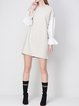 Apricot Frill Sleeve Stand Collar Mini Dress