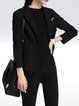 Black Solid Long Sleeve Lapel Blazer with Brooch