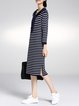 Navy Blue Stripes Sailor Collar Slit Girly Midi Dress