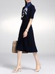 Navy Blue Crew Neck Solid Half Sleeve Midi Dress