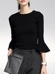 Black Knitted Flared Sleeve Crew Neck Sweater