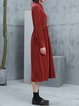 Wine Red Shirt Collar Long Sleeve H-line Slit Midi Dress with Belt