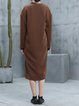 Brown Long Sleeve Slit Pockets Plain Coat