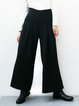 Black Solid Polyester Elegant Wide Leg Pants