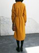 Mustard H-line Simple Viscose Shirt Dress with Belt