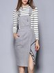 Gray Slit Two Piece Stand Collar Casual Midi Dress