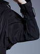 Black Elegant Solid Stand Collar Shirred Coat