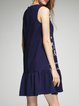 Navy Blue Embroidered Sleeveless Flounce Mini Dress