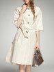 Apricot Solid Elegant Pockets Buttoned Trench Coat with Belt