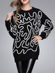 Girly Long Sleeve Cocoon Geometric Sweater