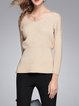 V Neck Knitted Long Sleeve Sweater