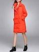 Orange Long Sleeve Pockets Polyester Plain Down Coat