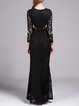 Vintage Floral Embroidered Mermaid Lace Evening Dress