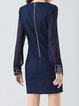 Navy Blue Sheath Long Sleeve Paneled Tribal Mini Dress