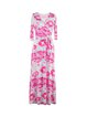 Fuchsia Floral Print Vintage Cotton-blend Wrap Dress with Belt