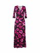 Vintage 3/4 Sleeve V Neck Floral Printed Wrap Dress with Belt