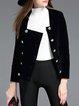 Black Buttoned Square Neck Velvet Cropped Jacket