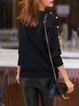 Black Beaded Simple Sweater
