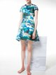 Multicolor Camouflage Printed Stand Collar Skater Mini Dress