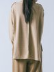 Camel Slit High Low Wool Blend Simple Long Sleeved Top
