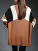 Color-block Batwing Shift Wool Blend Sweater