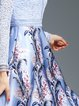 Light Blue Paneled Printed Elegant Floral Midi Dress