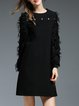 Black Appliqued Plain Long Sleeve Mini Dress