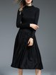 Black Paneled Cotton-blend Buttoned Stand Collar Midi Dress