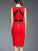 Zipper Sheath Elegant Cotton-blend Midi Dress