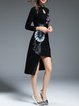 Black High Low Slit Vintage Floral Keyhole Midi Dress
