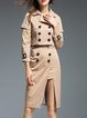 Khaki Buttoned Slit Lapel Elegant Two Piece Separates