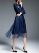 Dark Blue Embroidered Long Sleeve Midi Dress