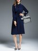 Shirred Casual Long Sleeve Shirt Collar Pockets Midi Dress