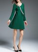 Green V Neck Long Sleeve Cotton-blend A-line Mini Dress