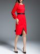 Slit Crew Neck Long Sleeve Sheath Elegant Midi Dress with Belt