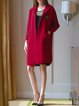 Red Hoodie Long Sleeve H-line Elegant Wool Blend Coat