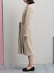 Beige Wool Blend Shift Long Sleeve Solid Midi Dress