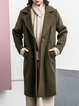 Army Green Long Sleeve Lapel Shift Solid Coat