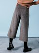 Coffee Buttoned Solid Casual Wide Leg Pants
