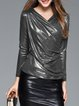 Gathered V Neck Velvet Elegant Long Sleeved Top