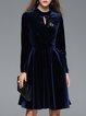 Casual Long Sleeve A-line Folds Midi Dress