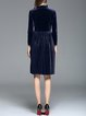 Velvet A-line Stand Collar Long Sleeve Casual Midi Dress